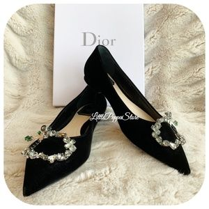CHRISTIAN DIOR BLACK SUEDE FLAT SHOES 37/7